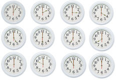 Set of clocks. In white background vector illustration