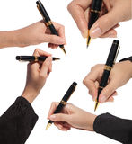 Set of close up hand hold a pen with clipping path Royalty Free Stock Photos