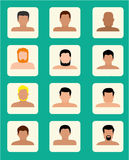 Set of close up men portraits  vector illustrations. Royalty Free Stock Photos