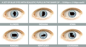 A set of close-ups of an eye with the pupil in the shape of ... A set of close-ups of an eye with the pupil in the shape of Illinois, Indiana, Iowa, Kansas Royalty Free Stock Photo