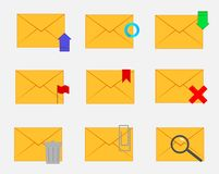 Set of closed envelopes with functions royalty free illustration