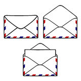 Set of closed and open envelopes Royalty Free Stock Image