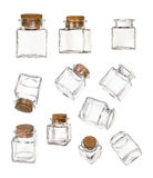 Set of closed and opened empty jars with bung Stock Images