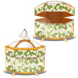 Set of closed and opened ornate gift boxes with lids green color with flower ornament isolated on white background royalty free illustration