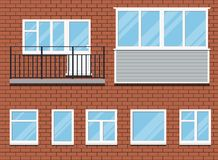 Set of closed plastic pvc windows and a balcony vector illustration stock illustration