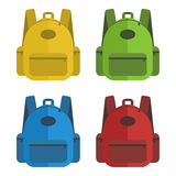Set of closed school bags in different colour Stock Images