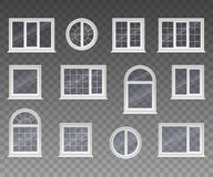 Set of closed square, rectangular, round and arched windows with transparent glass in a white frame. Isolated on a transparent bac vector illustration