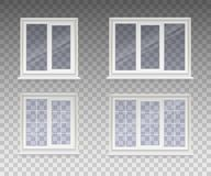 Set of closed window with transparent glass in a white frame. Isolated on a transparent background. Vector.  vector illustration