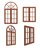 Set of closed wooden windows. Isolated on white background stock illustration