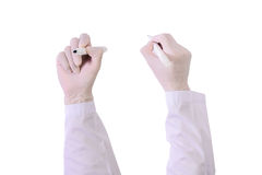 Set of Closeup Doctor hand with glove holding pen  marker  writing isolated on white Royalty Free Stock Photography