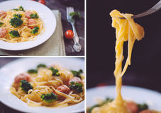Set of closeup shots of pasta with bolgnese sauce Stock Images