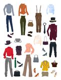 A set of clothes and accessories Royalty Free Stock Images