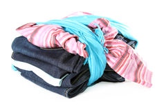 Set of clothes with blue scarf Stock Photography
