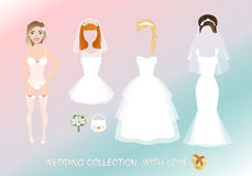 Set of clothes for the bride in cartoon style. Stylish female image for wedding. Creating woman character Royalty Free Stock Image