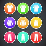 Set of clothes colorful icons Stock Image