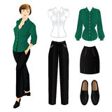 Set of clothes for everyday. Woman in green blouse Stock Images