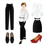 Set of clothes for everyday. Woman in white blouse Stock Images