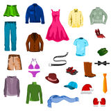 Set of clothes. Illustration of clothes set with white background Royalty Free Stock Photos