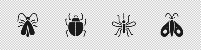 Set Clothes moth, Mite, Mosquito and Butterfly icon. Vector