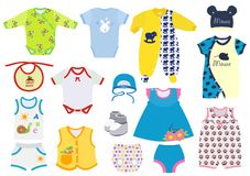 Set of clothes for newborns and small children. Vector illustration. Stock Image