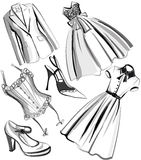 Set of clothes and shoes from the fifties Royalty Free Stock Image
