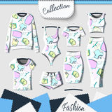 Set of clothes with stylish print and stereo effect Stock Images