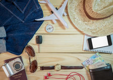 Set of clothes and travel accessory Royalty Free Stock Images