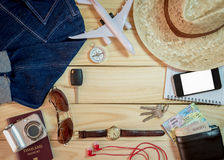 Set of clothes and travel accessory Royalty Free Stock Photo