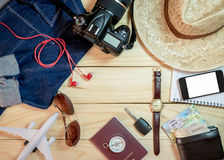 Set of clothes and travel accessory Royalty Free Stock Photography