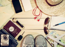 Set of clothes and travel accessory Stock Photography