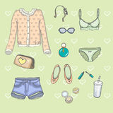 Set of clothes in vector Stock Images