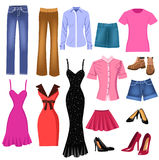 Set of clothes for women. Illustration of different women clothes and shoes for all occasions Royalty Free Stock Image