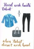A set of clothes for work in the officeL Blue jeans shirt, skinny, black jeans, a bag and a silver watch vector illustration
