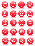 Clothing and accessories web icons Stock Photos