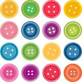 Set of clothing buttons. Of bright colors on a white background stock illustration
