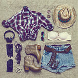 Set of clothing in cowboy retro style Stock Photography