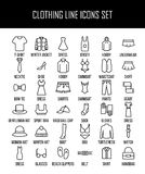 Set of clothing icons in modern thin line style. Royalty Free Stock Image