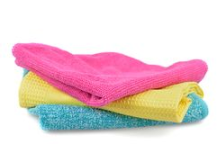 Set of cloths microfiber isolated on white. Set of colorful cloths microfiber isolated on white background. Cleaning cloth for different purposes stock photo