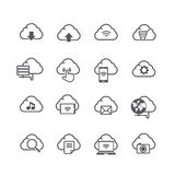 Set of cloud computer and social network connection icon isolate Royalty Free Stock Images