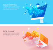 Set_of_cloud_computing_and_datastorage_3d_style Imagenes de archivo