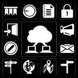 Set of Cloud computing, , Map, Worldwide, Street, Send, Forbidden, Megaphone, Exit, editable icon pack stock illustration