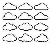 Set cloud icons black white vector illustration
