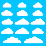 Set of cloud icons on blue background. Collection of different cloud icons. Royalty Free Stock Photo
