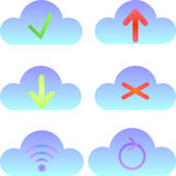 Set of cloud icons, computing icons and logos Royalty Free Stock Photo