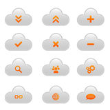 Set of cloud icons - orange and light grey. Collection of 12 cloud icons in red and light grey design stock illustration