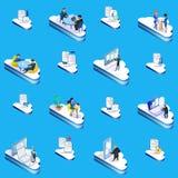 Set of cloud management concept illustration. royalty free illustration