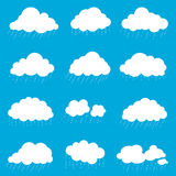 Set cloud with rain, smoke element decor isolated for game art w Royalty Free Stock Image