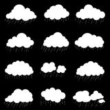 Set cloud with rain, smoke element decor isolated for game art w Stock Image