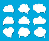 Set of Cloud Shaped Speech Bubbles Vector Illustration Royalty Free Stock Photo