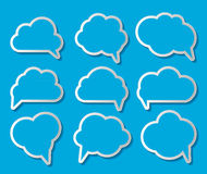 Set of Cloud Shaped Speech Bubbles Vector Illustration Stock Photos